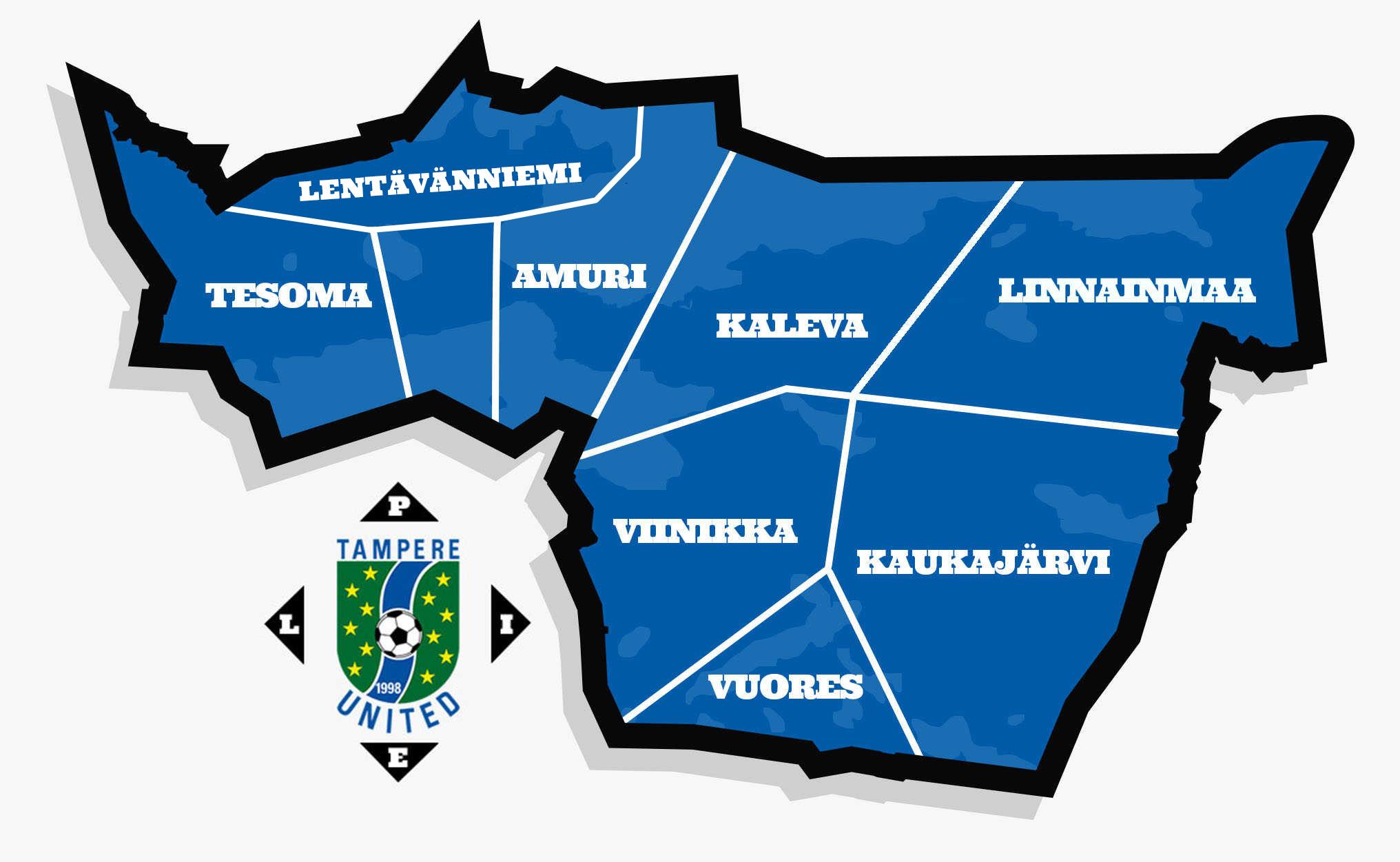 Tampere Unitedin kaupunginosatoiminnan kartta