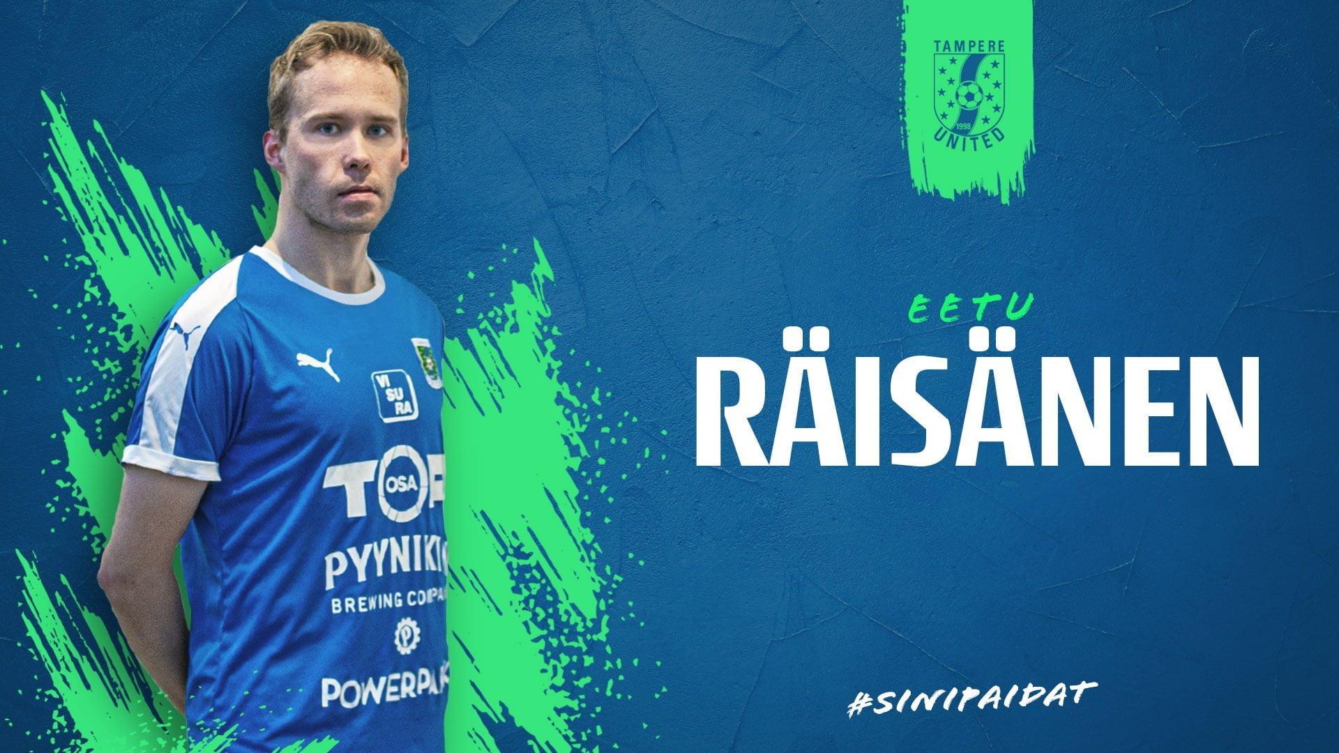 Eetu Räisänen pelaa Tampere Unitedissa myös kaudella 2022 -uutiskuva